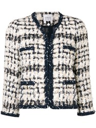 Edward Achour Paris Short Tweed Jacket Nude And Neutrals