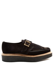 Rupert Sanderson Thelma Monk Strap Suede Shoes Black Multi