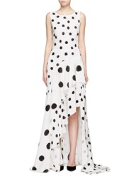 Oscar De La Renta Tiered Skirt Polka Dot Silk Crepe Gown White