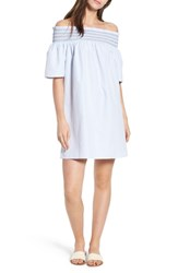 Tommy Jeans Smocked Off The Shoulder Dress Bright White Serenity