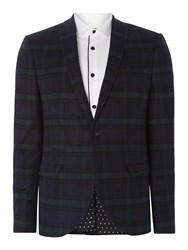 Label Lab Men's Jackson Sb1 Tartan Skinny Blazer Navy