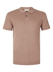 Selected Homme Pink Ribbed Knitted Polo T Shirt