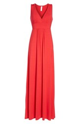 Loveappella Women's V Neck Jersey Maxi Dress Red Lipstick