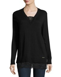 Michael Michael Kors Sweater Top With Lace Trim Black