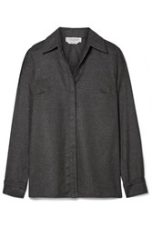 Gabriela Hearst Cruz Brushed Cashmere Shirt Dark Gray