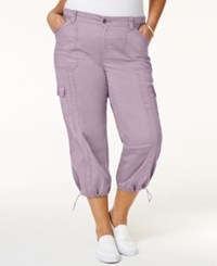Style And Co Plus Size Capri Cargo Pants Only At Macy's Lily Lavendar