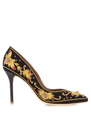 Malone Souliers Brenda Embroidered Suede Pumps Black Yellow
