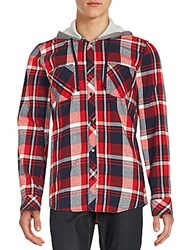 Buffalo David Bitton Hooded Plaid Sportshirt Chili Plaid