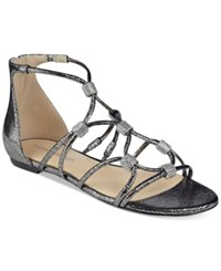 Ivanka Trump Chaley Flat Strappy Sandals Women's Shoes Pewter