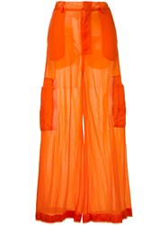 G.V.G.V. Sheer Jersey Cargo Trousers Women Nylon 34 Yellow Orange