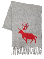 Dsquared Deer Embroidered Wool And Cashmere Scarf