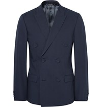 Calvin Klein Collection Blue Neville Slim Fit Double Breasted Bonded Cotton Blazer Midnight Blue
