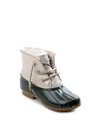 Jack Rogers Chloe Fleece Lined Leather Duck Boots Olive