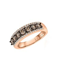 Le Vian Chocolatier Vanilla Diamond Chocolate Diamond And 14K Rose Gold Ring 1.09 Tcw