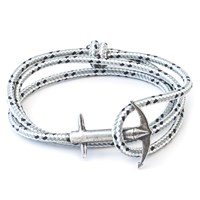 Anchor And Crew Admiral Rope And Silver Bracelet Grey Dash