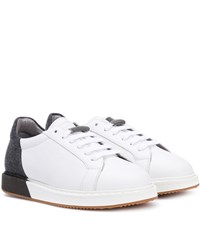 Brunello Cucinelli Leather And Felt Sneakers White