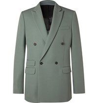 Stella Mccartney Double Breasted Wool Suit Jacket Blue