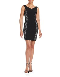 Guess Lace Accented Off The Shoulder Sheath Dress Black