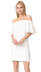 Brandon Maxwell Ruffle Sleeve Mini Dress Ivory
