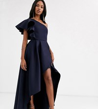 True Violet Frill One Shoulder High Low Prom Maxi Dress In Navy