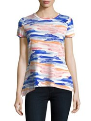 Ivanka Trump Watercolor Print Sharkbite Tee Ivory Blue