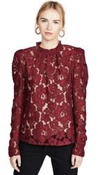 Wayf Emma Puff Sleeve Lace Top Burgundy