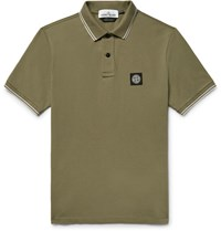 Stone Island Slim Fit Contrast Tipped Stretch Cotton Pique Polo Shirt Army Green