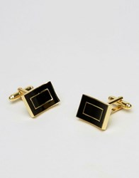 Asos Cufflinks In Gold With Black Enamel Rose Gold