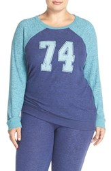 Make Model Plus Size Women's 'Hello Friday' Crewneck Lounge Sweater Navy Ribbon