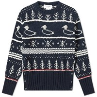 Thom Browne Duck Donegal Crew Knit Blue