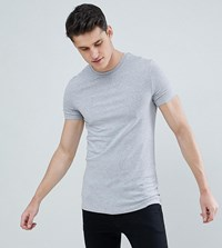 Asos Design Tall Muscle T Shirt With Crew Neck In Grey Marl Grey Marl