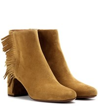 Saint Laurent Babies 70 Fringed Suede Ankle Boots Brown