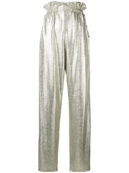 Balmain High Waist Palazzo Trousers Metallic