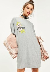Missguided Grey Embroidered Detail Flower T Shirt Dress