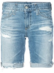 Ag Jeans Distressed Design Shorts Blue