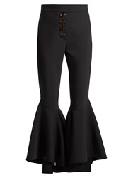 Ellery Sin City High Rise Ruffled Cuff Cropped Trousers Black