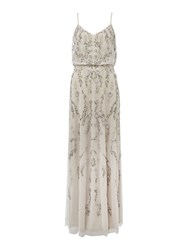 Adrianna Papell Blouson Dress With Floral Sequin Embroidery Ivory