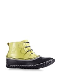 Sorel Out And About Patent Leather And Rubber Duck Booties Yellow