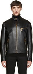 Versace Black Classic Leather Bomber