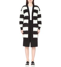 Izzue Striped Knitted Cardigan White Black