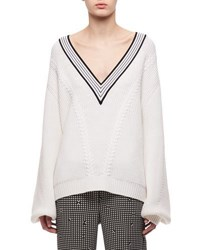 Carven V Neck Merino Wool Cable Knit Sweater White