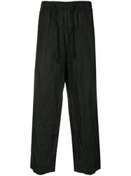 Ziggy Chen Creased Cropped Trousers Black