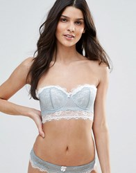 New Look Lace Contrast Longline Bra Green