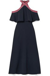 Lela Rose Cold Shoulder Grosgrain Trimmed Ruffled Crepe Midi Dress Navy