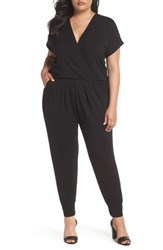 Loveappella Plus Size Women's Short Sleeve Wrap Top Jumpsuit Black