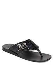 Galliano Leather Thong Sandals Blue
