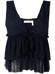 See By Chloe Layered Ruffle Blouse Blue