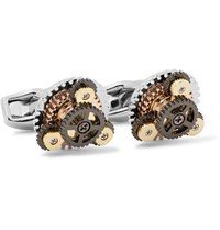 Tateossian Rotondo Gear Rhodium Plated Cufflinks Silver