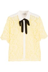 Sandro Bow Embellished Guipure Lace Top Yellow