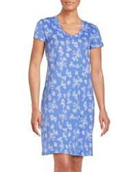 Lord And Taylor Printed V Neck Nightgown Perisan Jewel